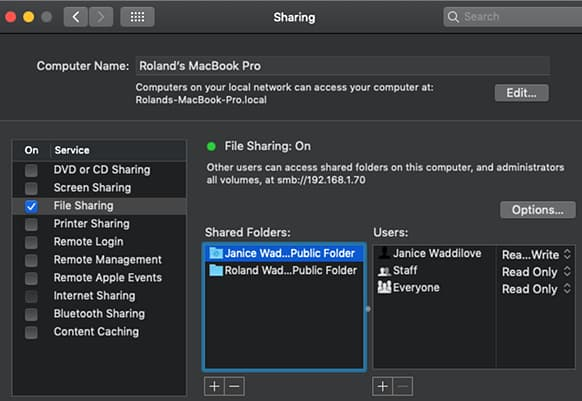Enable file sharing on the Apple Mac in System Preferences