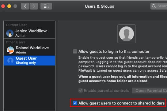 Enable the guest account in System Preferences on the Apple Mac