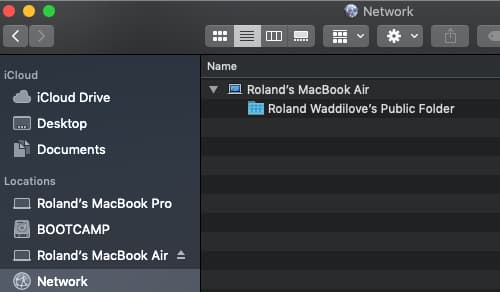 Browse the network for Macs using Finder in macOS