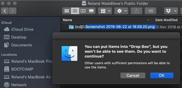 Use the Drop Box to share files on the Apple Mac