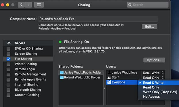 Set permissions for file sharing on the Apple Mac