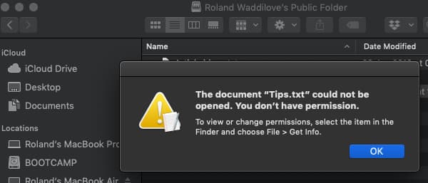 File permissions problems in macOS on the Apple Mac