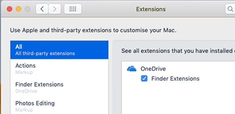 Enable OneDrive Finder extensions in macOS on the Apple Mac