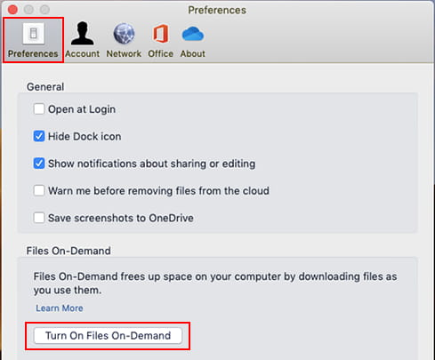 Enable Files on Demand on the Apple Mac OneDrive app