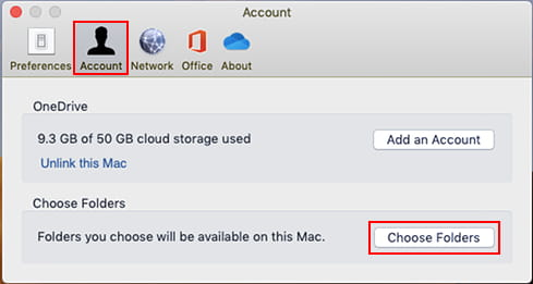 Choose the folders to sync using the OneDrive app on the Apple Mac
