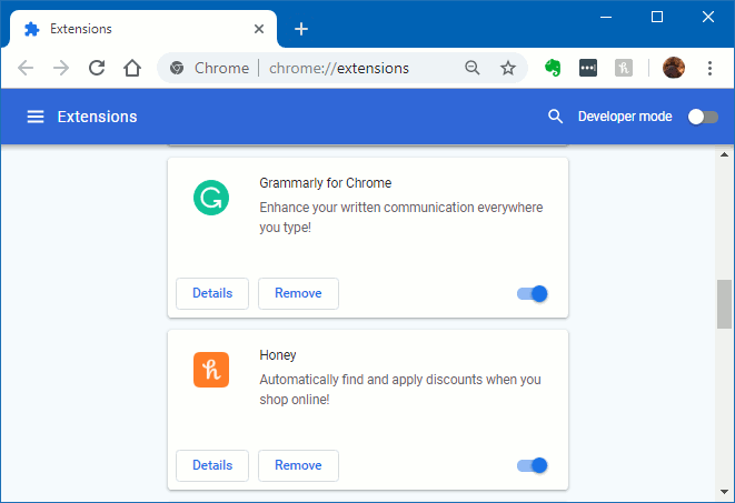 View Chrome extensions and enable, disable or delete them