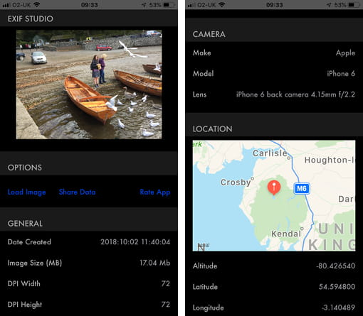 Exif Studio app for the iPhone showing exif information in photos