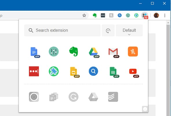 Extension Manager for Chrome showing icons for all the extensions installed