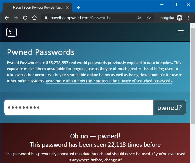 Have I Been Pwned website checking a password to see if it is compromised
