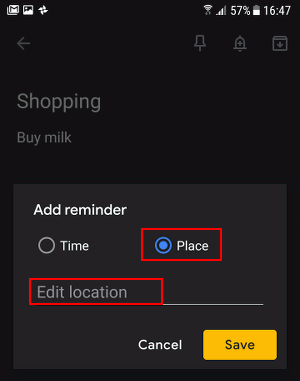 Create a location-based reminder in Google Keep on an Android phone