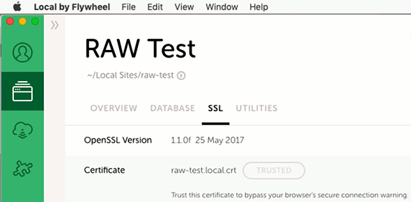 Local by Flywheel SSL certificate for secure websites