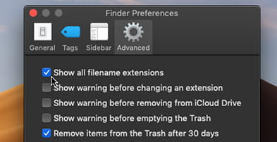 Show file extensions in Finder preferences on the Apple Mac