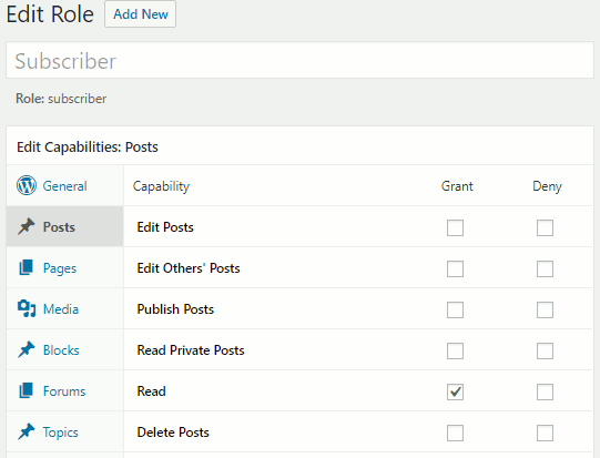 Members plugin in WordPress creating a user role and setting permissions