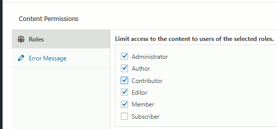WordPress Members plugin options to determine who can read a post on a website