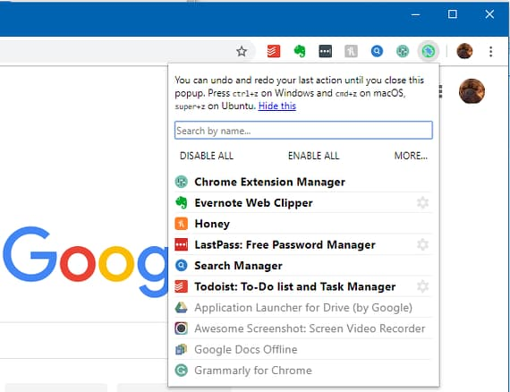One Click Extensions Manager for Chrome browser showing an extensions list