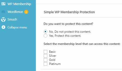 Protecting WordPress posts with Simple Membership