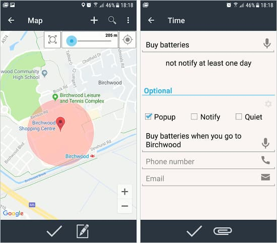 Time&Place Reminders app for Android phone with a location based reminder