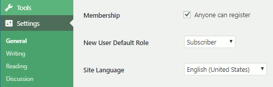 WordPress website membership options in Settings