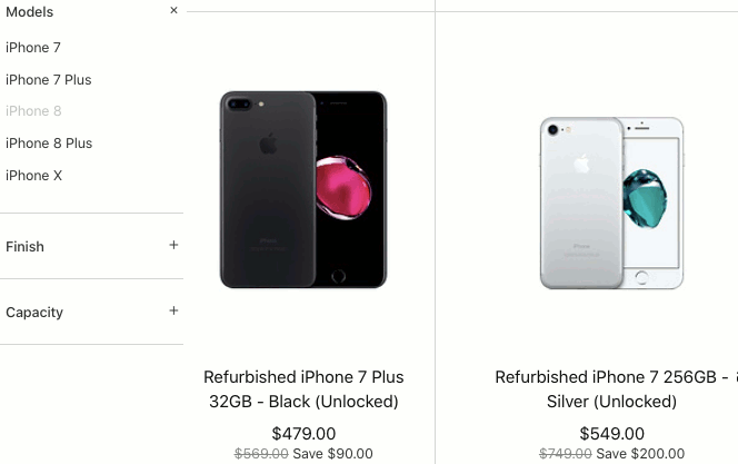 Refurbished iPhones on the Apple website