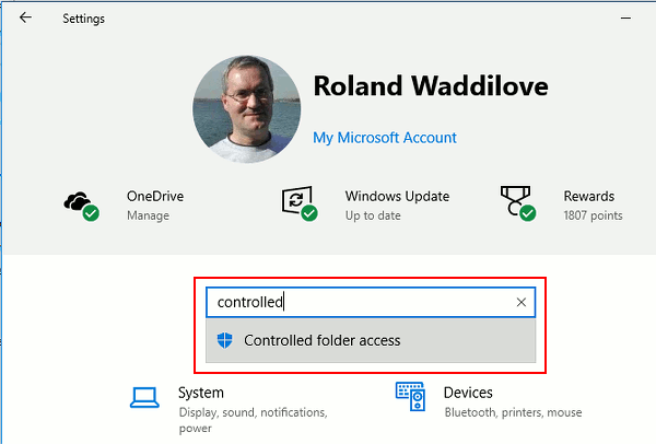 Search Windows Settings for controlled folder access