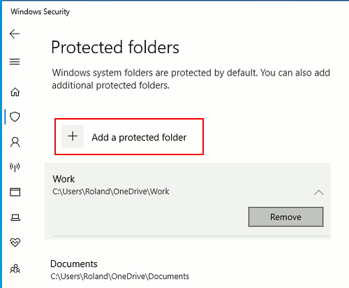 Add protected folders to controlled folder access in Windows 10