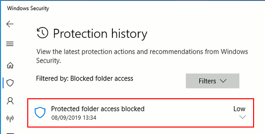 Windows Security protection history showing recent events