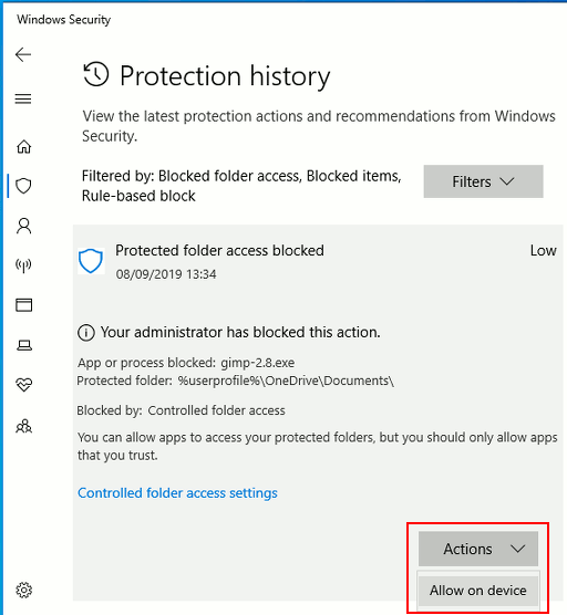 Viewing a security event in Windows Security app
