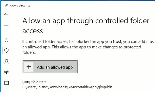 Controlled folder access settings in Windows 10