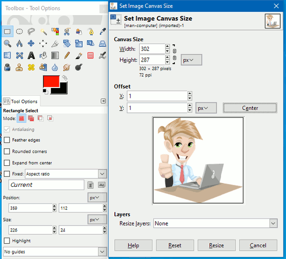 Set the canvas size in the GIMP photo editor
