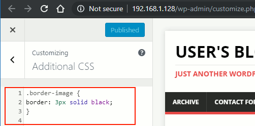 Images borders CSS code in the WordPress customizer