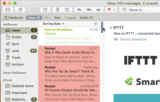 Color coded emails in the inbox in the Mail app on the Apple Mac