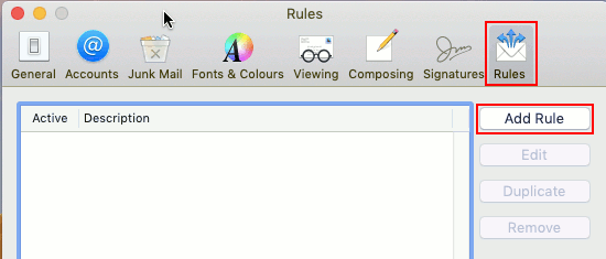 View Mac Mail rules on the Apple Mac