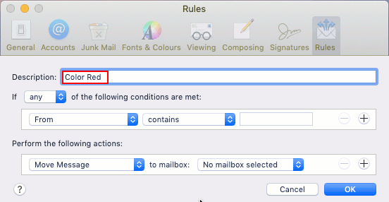 Create a new rule in the Mail app on the Apple Mac