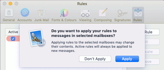 Apply rules to emails in the Mail app on the Apple Mac