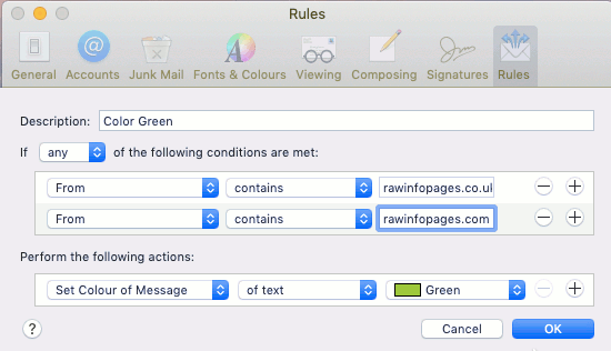 Create a rule in the Mail app on the Apple Mac