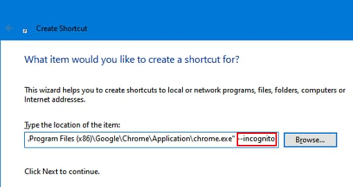 Chrome shortcut command line switch