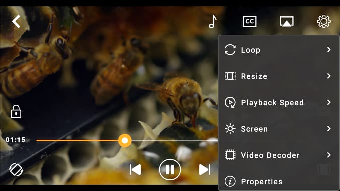 CnX Player app playing a video on an Android phone
