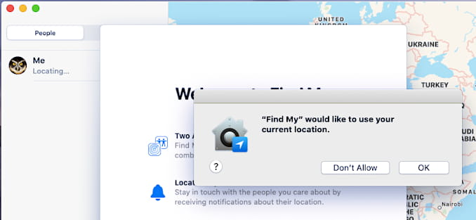 Introductory messages and location permission in Apple Find My app in macOS