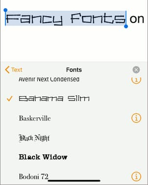 Selecting a font for text in Apple Pages app on the iPhone