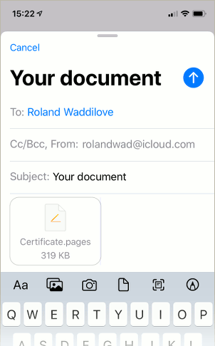 A document being sent via email in the Mail app on the iPhone