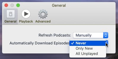 Choose when to download podcasts in the Podcasts app on the Apple Mac