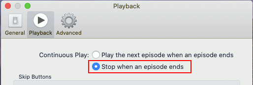 Stop the Podcasting app on the Apple Mac automatically playing the next episode
