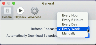 Select the frequency to check for new podcasts in the Podcast app on the Apple Mac