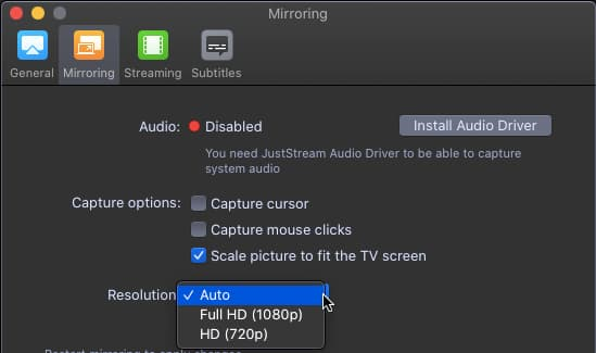 JustStream app for the Apple Mac settings