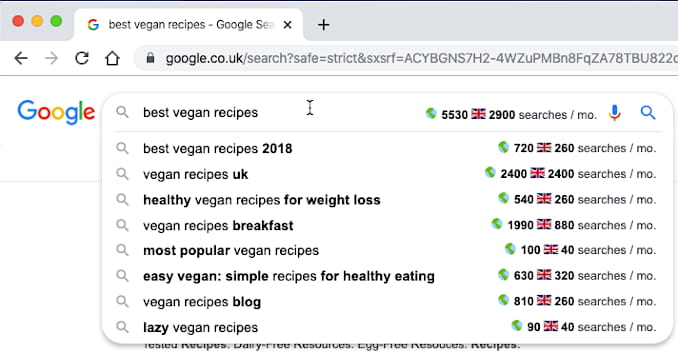 Keyword Surfer Google Chrome browser extension