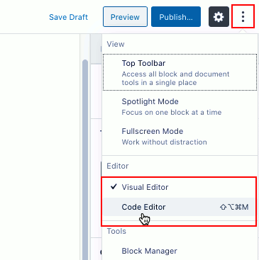 Switch editing mode in the WordPress post editor