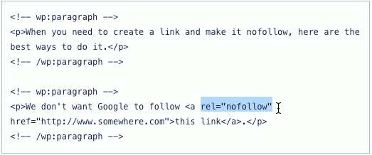 Edit the code in the WordPress post editor to add a nofollow link