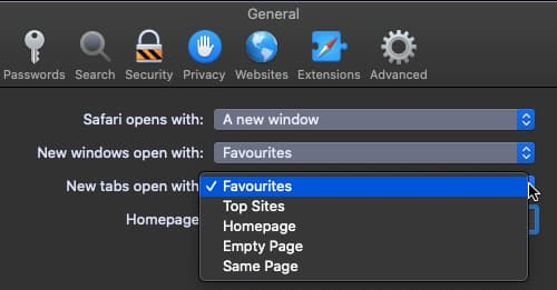 New tab options in Safari web browser on the Apple Mac