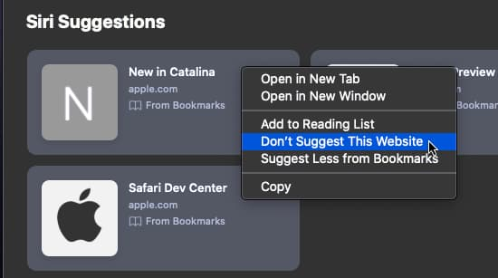 Customizing Siri suggestions in Safari start page