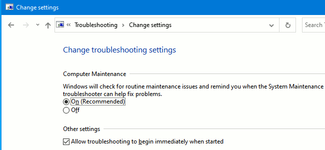 Troubleshooting settings in the Control Panel in Windows 10